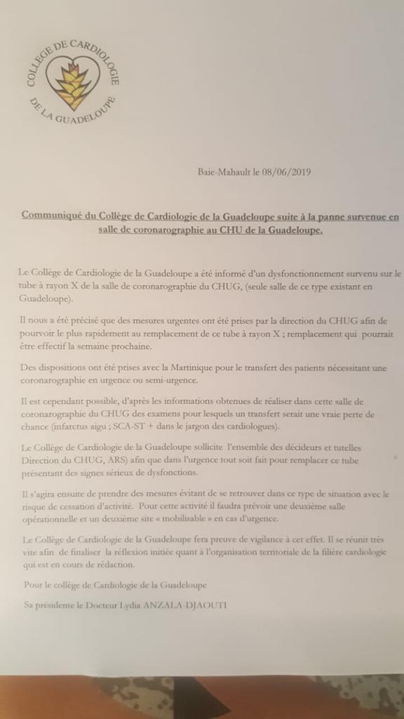 Communiqué du collège de cardiographie de la Guadeloupe suite à une panne survenue en salle de coronarographie au CHU de la Guadeloupe